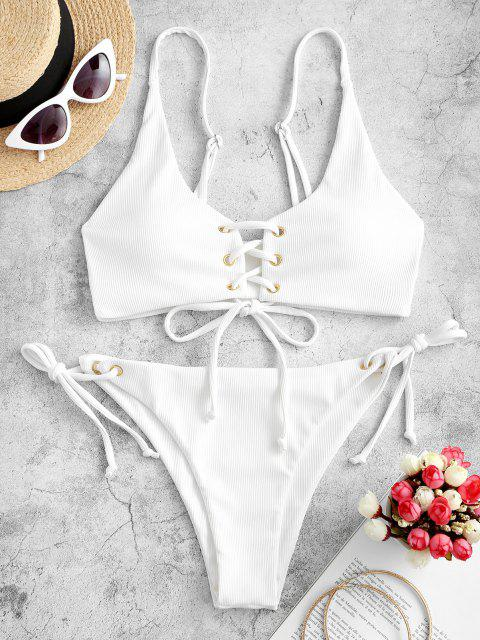 best ZAFUL Lace-up Tie Side Ribbed Bikini Swimsuit - WHITE M Mobile