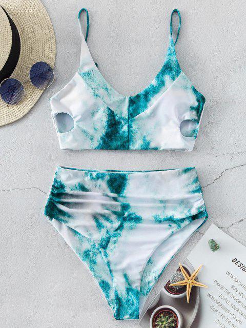 shop ZAFUL Tie Dye Keyhole Side Tummy Control Tankini Swimwear - MULTI-A L Mobile