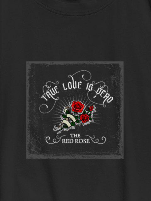 hot TRUE LOVE IS DEAD Red Rose Graphic T-shirt - BLACK L Mobile