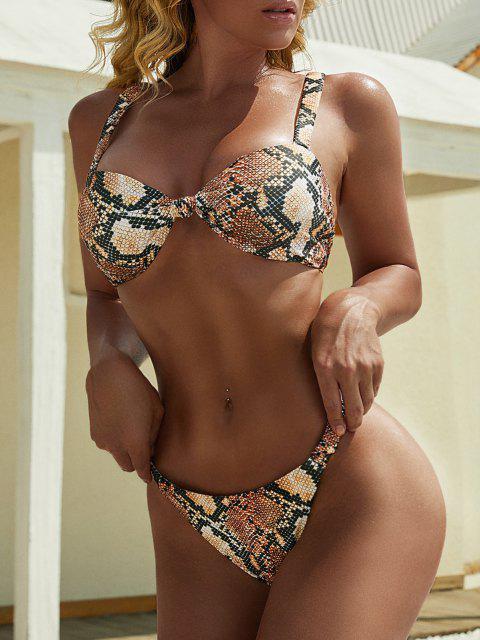 buy ZAFUL Animal Print Elasticated Straps Knot Bikini Swimwear - MULTI-A S Mobile