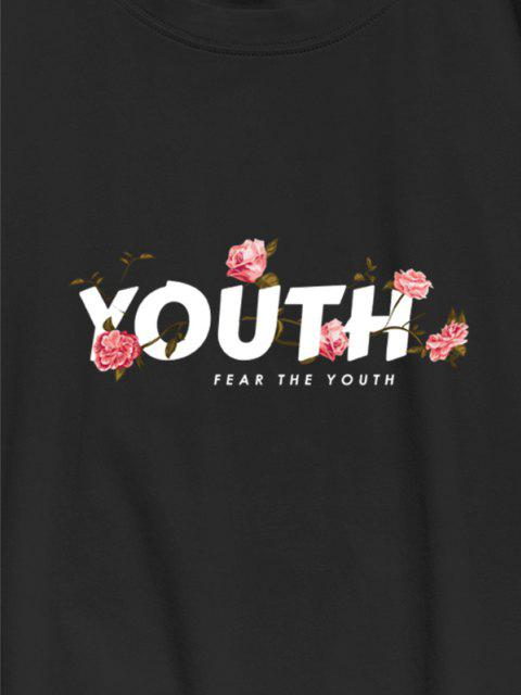 outfits FEAR THE YOUTH Flower Print Basic T-shirt - BLACK L Mobile