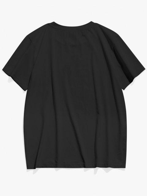 unique True Love Rose Print Basic T-shirt - BLACK L Mobile