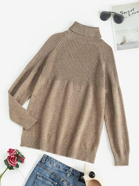 online Turtleneck Raglan Sleeve Contrast Ribbed Sweater - COFFEE ONE SIZE Mobile