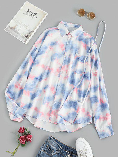 women's Oversize Tie Dye Pocket Shirt with Crossbody Bag - BLUE M Mobile