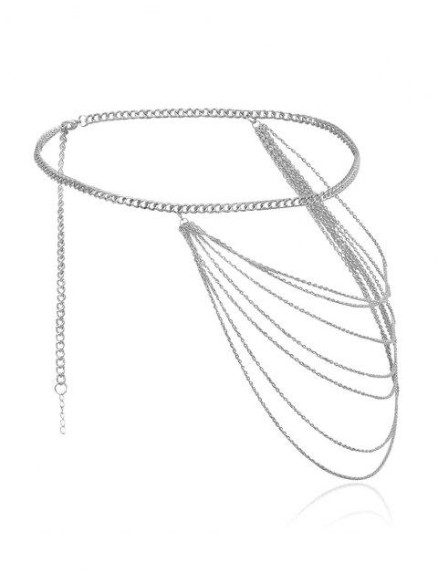 chic Brief Multilayered Waist Chain - SILVER  Mobile