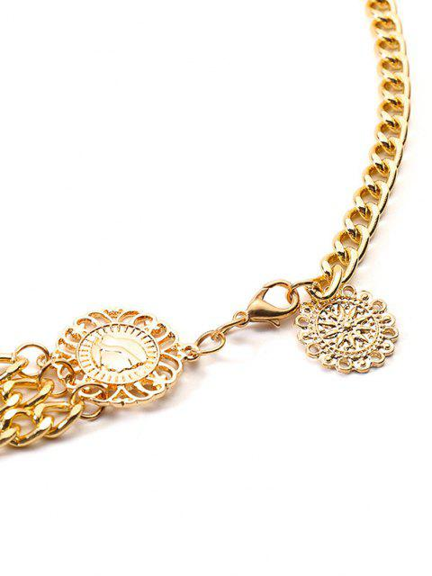 fancy Retro Coin Layered Waist Chain - GOLDEN  Mobile