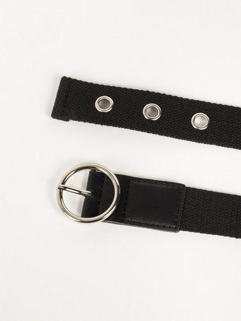 lady Grommet Canvas Circle Buckle Belt - BLACK  Mobile