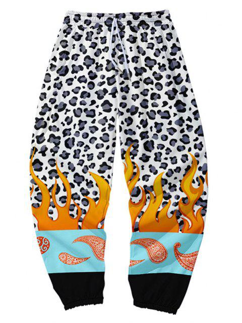 Pantalones de Bloqueo de Color con Estampado de Leopardo - Multicolor-A XS Mobile