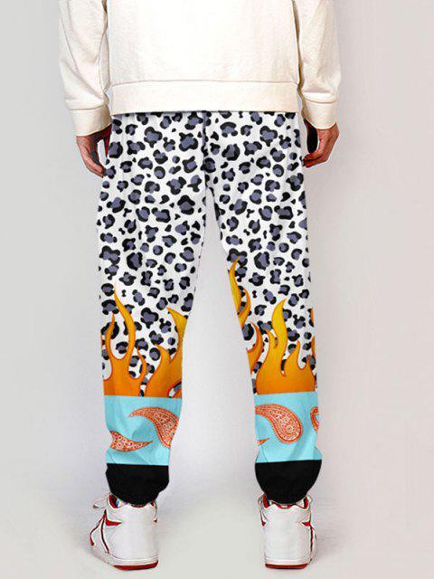 Pantalones de Bloqueo de Color con Estampado de Leopardo - Multicolor-A L Mobile