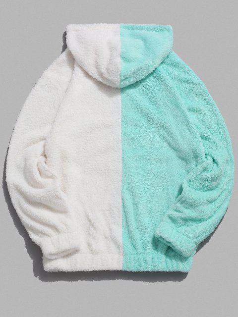 women's Contrast Faux Fur Fluffy Hoodie - LIGHT AQUAMARINE 2XL Mobile