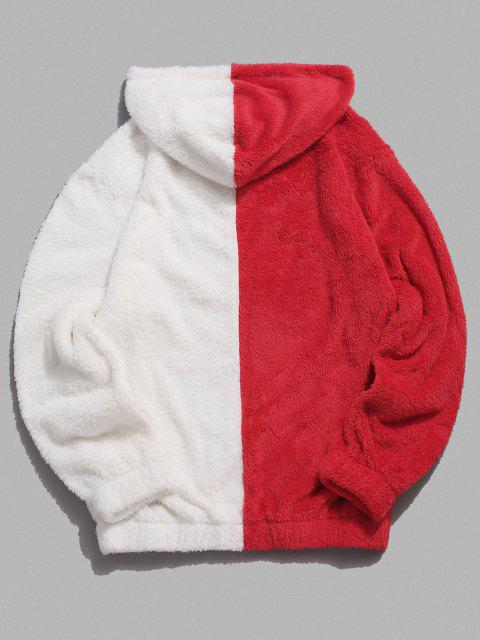 outfit Contrast Faux Fur Fluffy Hoodie - RED 2XL Mobile