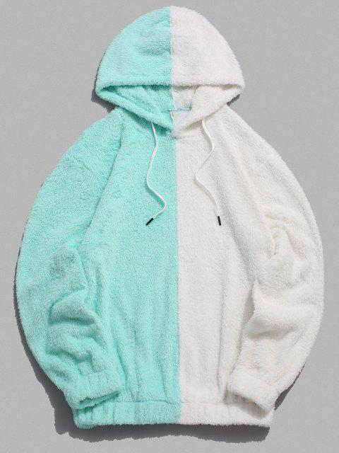 trendy Contrast Faux Fur Fluffy Hoodie - LIGHT AQUAMARINE L Mobile