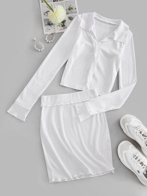 ladies Rib-knit Reverse Two Piece Dress - WHITE M Mobile
