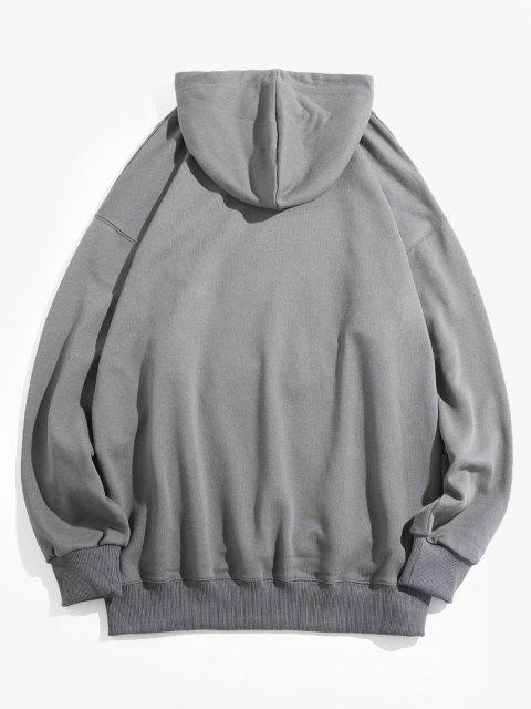 chic Chinese Character Graphic Pullover Front Pocket Hoodie - DARK GRAY 3XL Mobile