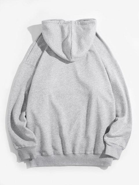 buy Chinese Character Graphic Pullover Front Pocket Hoodie - LIGHT GRAY M Mobile
