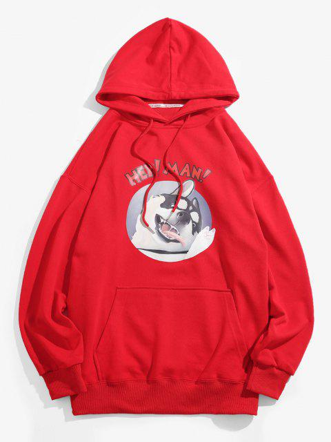 best Cartoon Dog Graphic Front Pocket Casual Hoodie - RED L Mobile