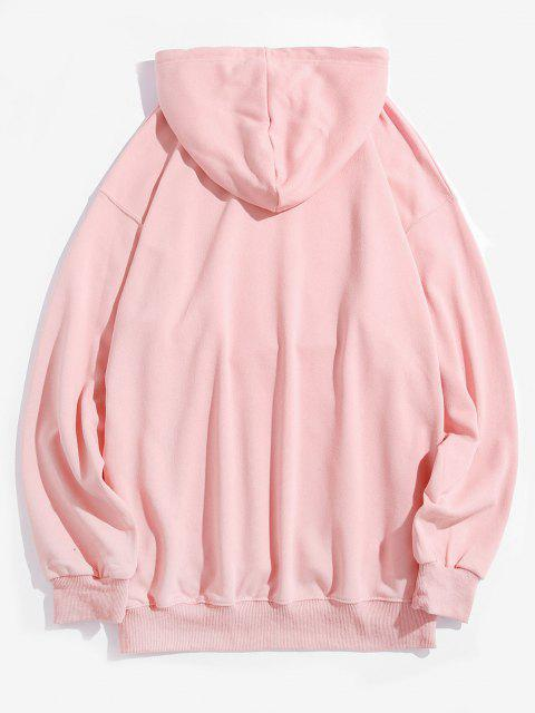 trendy Cartoon Dog Graphic Front Pocket Casual Hoodie - PINK L Mobile