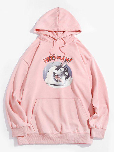 affordable Cartoon Dog Graphic Front Pocket Casual Hoodie - PINK M Mobile