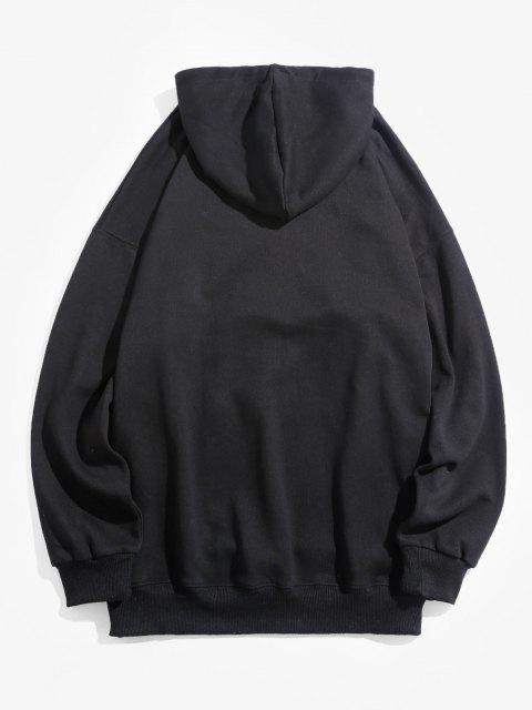 shops Cartoon Bear Graphic Pouch Pocket Casual Hoodie - BLACK M Mobile