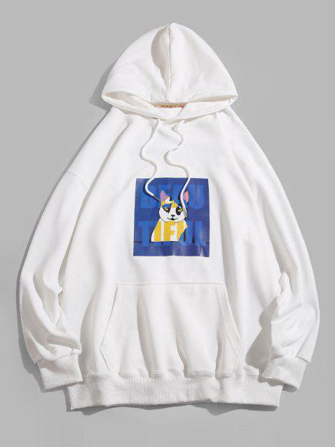 buy Cartoon Cat Graphic Drop Shoulder Pullover Hoodie - WHITE XL Mobile
