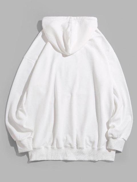 new Cute Feline Gaze Graphic Drop Shoulder Casual Hoodie - WHITE M Mobile