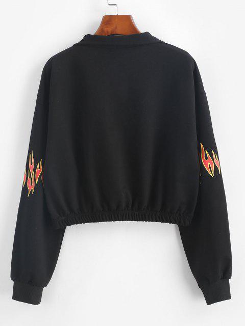 trendy Half Zip Flame Print Drop Shoulder Sweatshirt - BLACK M Mobile