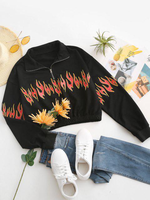 Half Zip Flame Print Drop Shoulder Sweatshirt - أسود M Mobile
