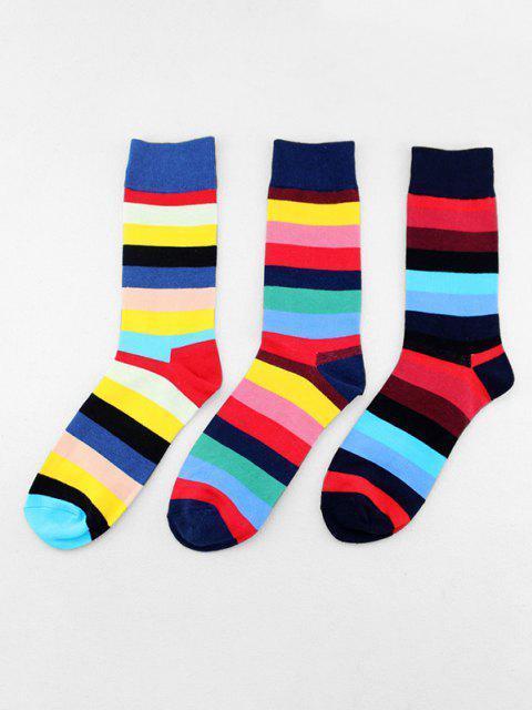 trendy 3 Pairs Colorblock Striped Socks Set - MULTI-A  Mobile