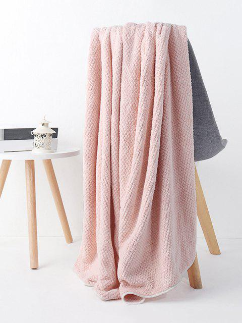 chic Textured Absorbent Fleece Solid Bath Towel - LIGHT PINK  Mobile