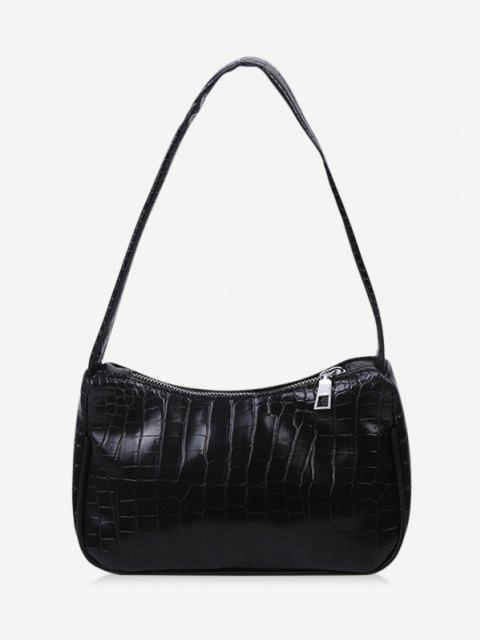 sale French Style Textured Shoulder Bag - BLACK  Mobile