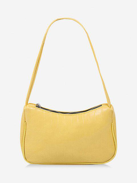 womens French Style Textured Shoulder Bag - SUN YELLOW  Mobile