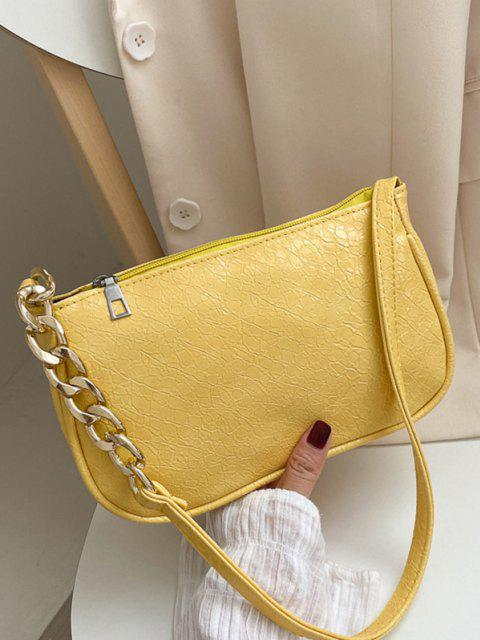 ladies Solid Chain Shoulder Bag - SUN YELLOW  Mobile