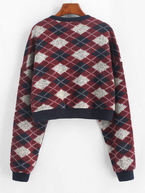 ZAFUL Argyle Pattern Cropped Fleece Sweater - منتصف الليل الأزرق S Mobile