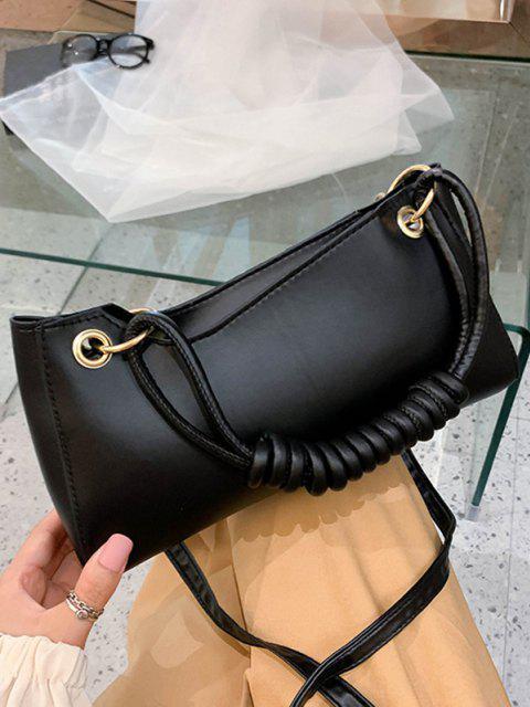 affordable French Style Wrap Handle Handbag - BLACK  Mobile