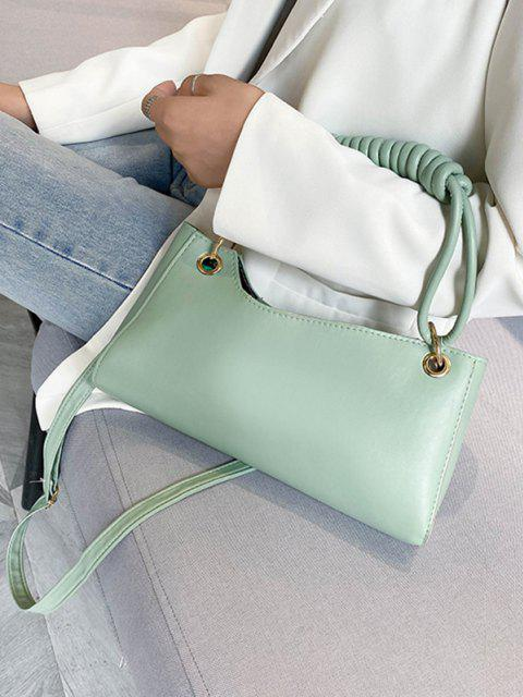 womens French Style Wrap Handle Handbag - DARK SEA GREEN  Mobile