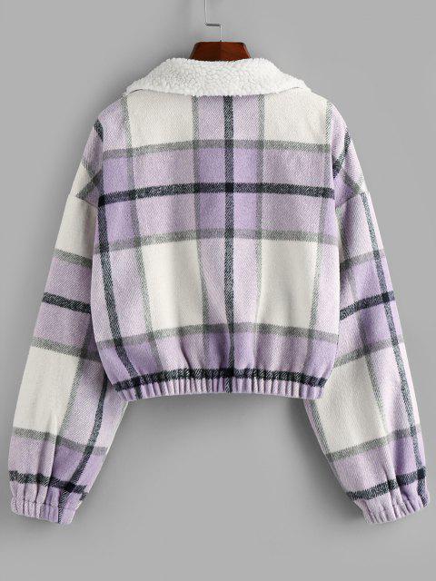 ZAFUL Plaid Half Zip Teddy Collar Drop Shoulder Sweatshirt - خبازي L Mobile