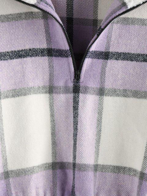 womens ZAFUL Plaid Half Zip Teddy Collar Drop Shoulder Sweatshirt - MAUVE S Mobile