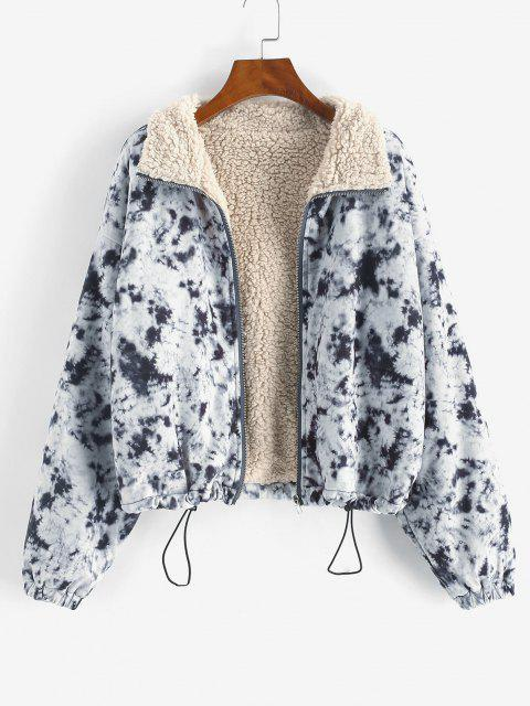 Zip Up Tie Dye Borg Lined Jacket - أسود L Mobile