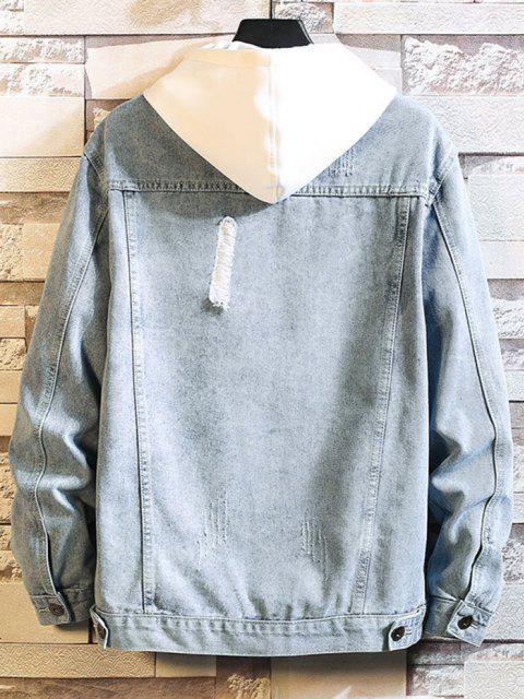 fashion Distressed Multi Pockets Button Up Denim Jacket - LIGHT BLUE L Mobile