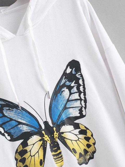 new Front Pocket Butterfly Casual Hoodie Dress - WHITE S Mobile