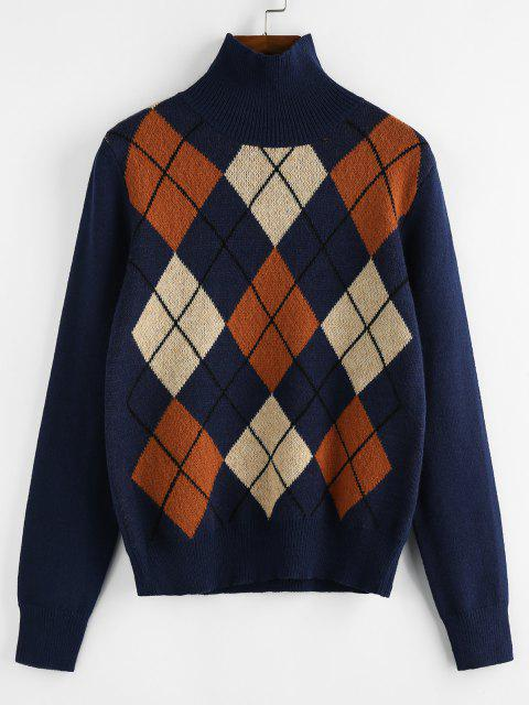 ZAFUL Argyle Hoher Hals Pullover - Blau M Mobile