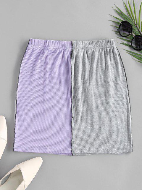 womens ZAFUL Colorblock Stitching Bodycon Skirt - MULTI M Mobile