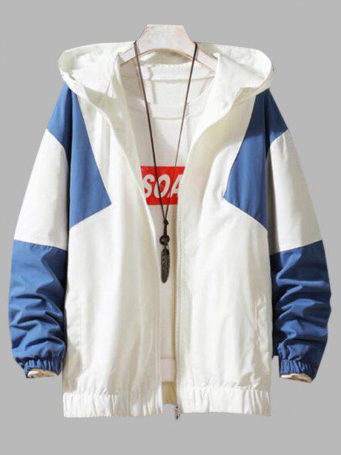 Veste à Capuche Zippée Contrastée - Bleu de Soie 2XL Mobile