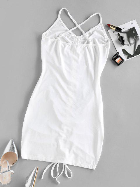 sale ZAFUL Cinched Criss Cross Bodycon Dress - WHITE S Mobile