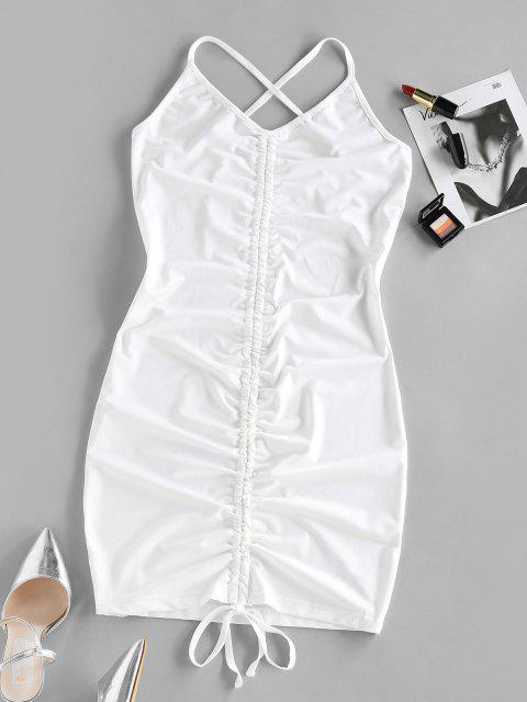 buy ZAFUL Cinched Criss Cross Bodycon Dress - WHITE M Mobile