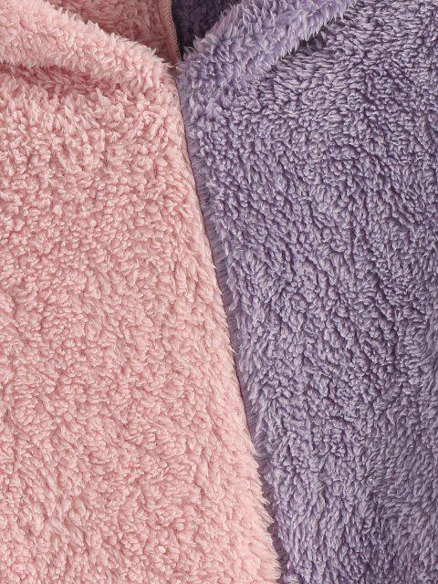 ladies ZAFUL Two Tone Plush Faux Fur Pocket Hoodie - ROSE M Mobile