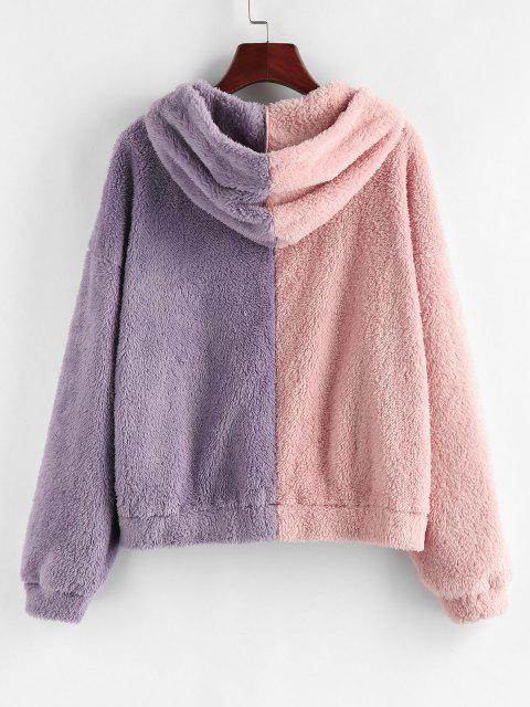 shops ZAFUL Two Tone Plush Faux Fur Pocket Hoodie - ROSE L Mobile