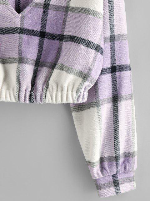hot ZAFUL Plaid Drop Shoulder Elastic Hem Sweatshirt - MAUVE L Mobile