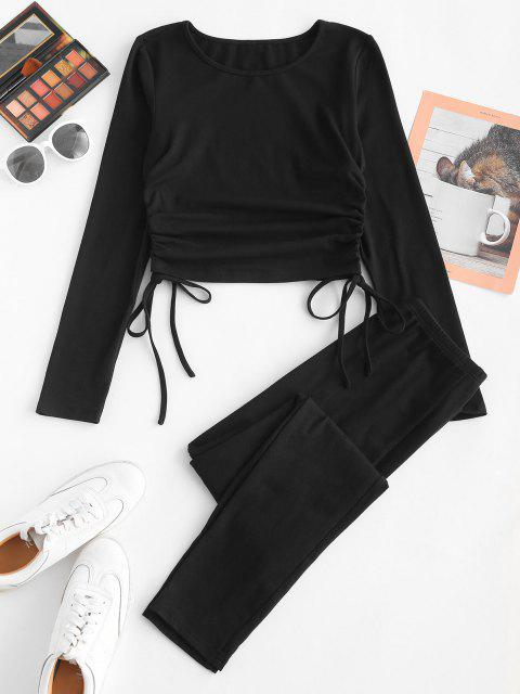 best ZAFUL Cinched Cropped T-shirt and Skinny Pants Set - BLACK S Mobile