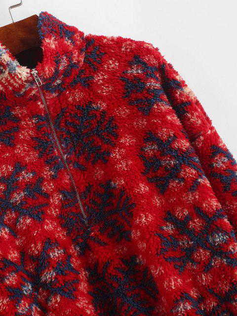 outfits ZAFUL Snowflake Pattern Half Zip Fluffy Sweatshirt - RED S Mobile